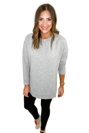 Heather Grey Side Slit Tunic Top