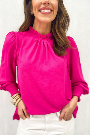 hot pink long sleeve top with smocked cuffs, white skinny jeans, spring tops, shop style your senses by mallory fitzsimmons