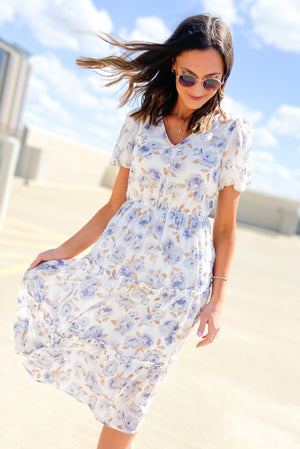 blue and white floral tiered dress with puff sleeves, spring dresses, fashion trends, Sunday best, shop style your senses by mallory fitzsimmons