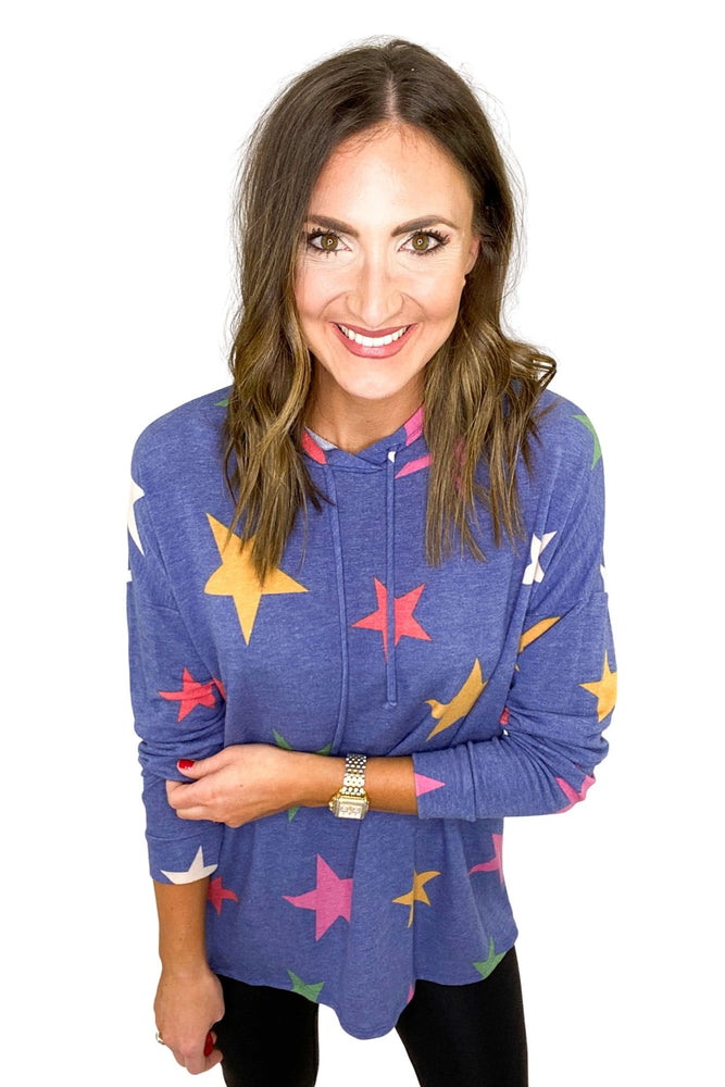 Light Navy Hoodie w/ Multi Colored Stars