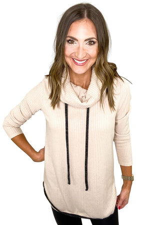 Load image into Gallery viewer, Oatmeal Waffle Knit Cowl Neck Top w/ Drawstrings