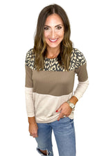 Ribbed Color Block and Animal Print Long Sleeve Top
