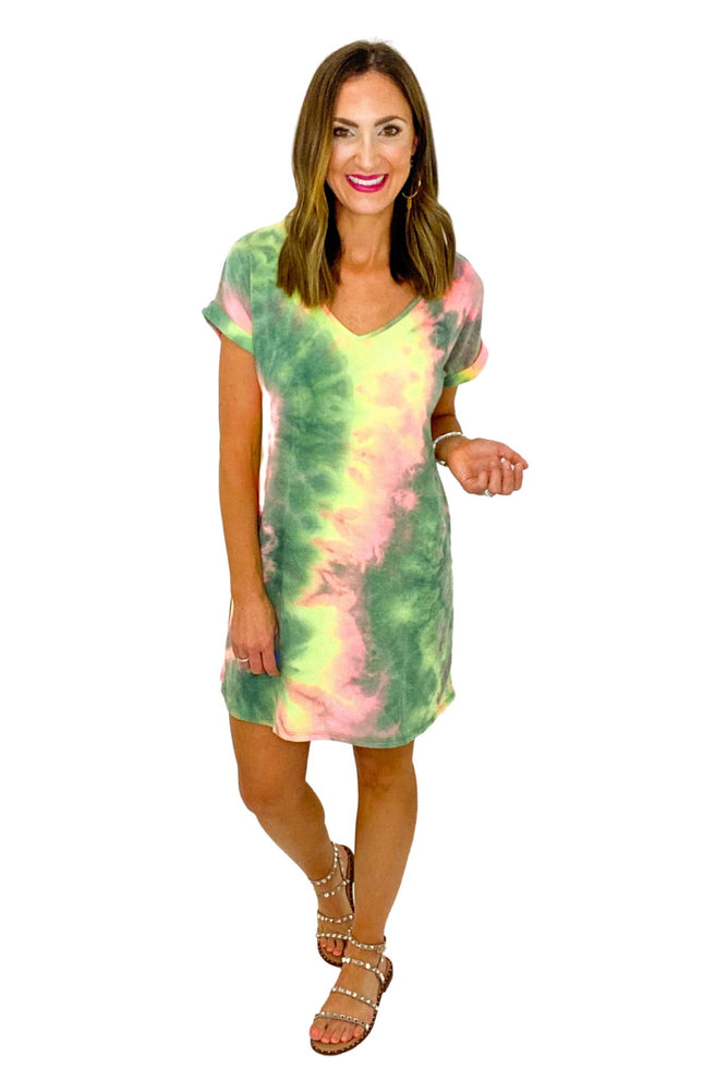 Olive and Pink Tie Dye French Terry Dress