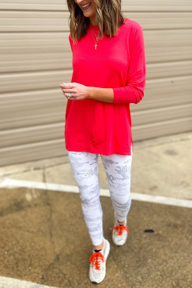 salmon side slit tunic, athleisure, spring tops, shop style your senses by mallory fitzsimmons