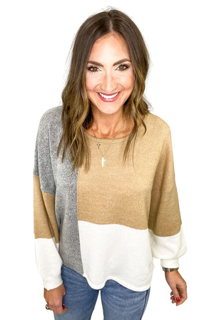 Light Neutral Color Block Sweater w/ Back Tie