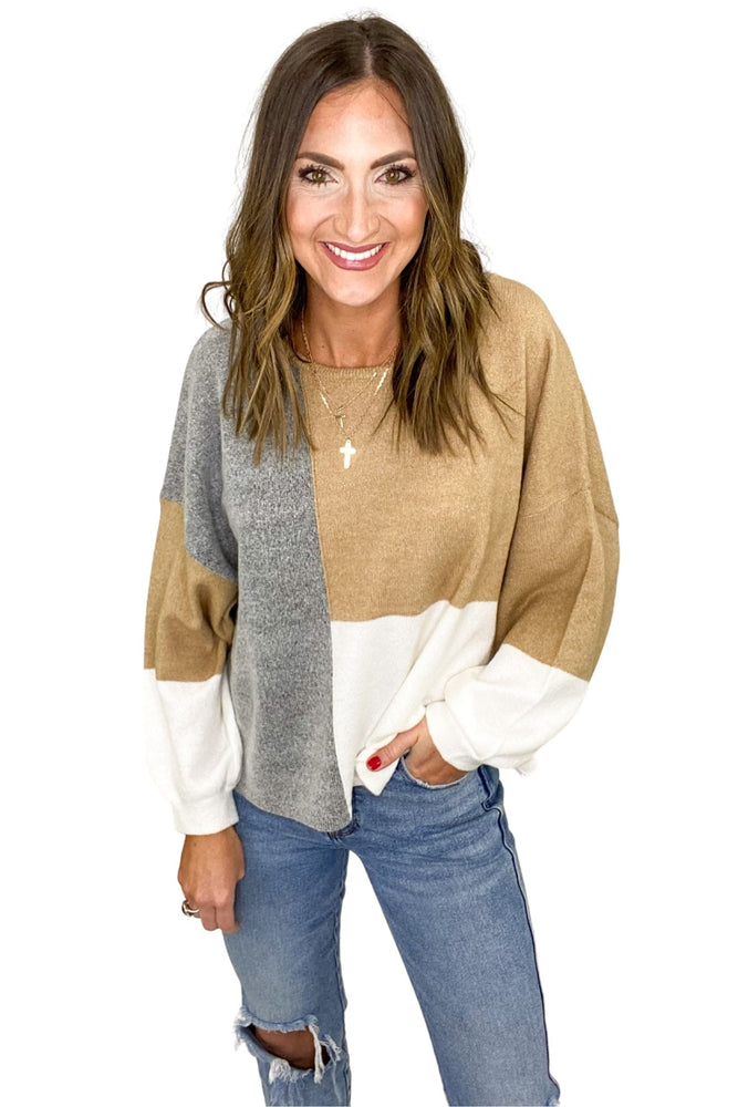Load image into Gallery viewer, Light Neutral Color Block Sweater w/ Back Tie