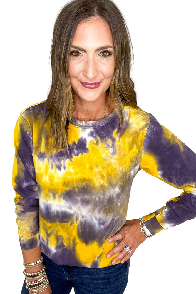 Load image into Gallery viewer, Yellow & Purple Tie Dye Top