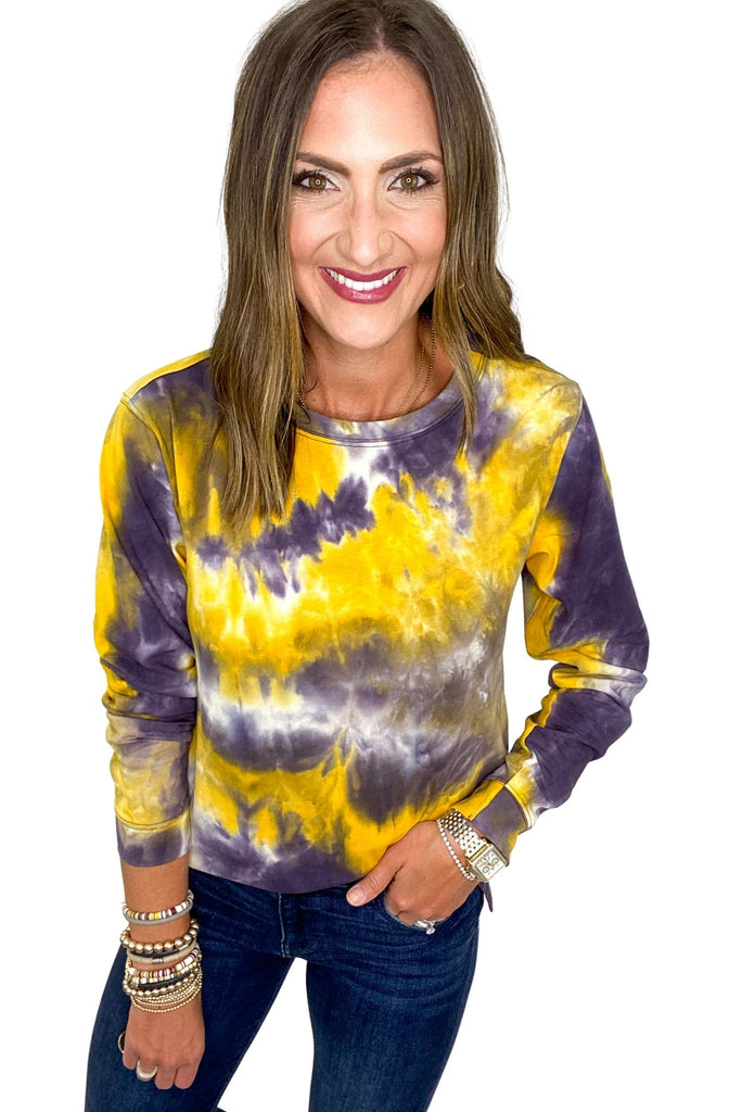 Yellow & Purple Tie Dye Top