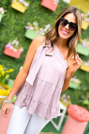 dusty lavender tiered bow one shoulder top, white skinny jeans, bright spring tops, outfit inspiration, shop style your senses by mallory fitzsimmons