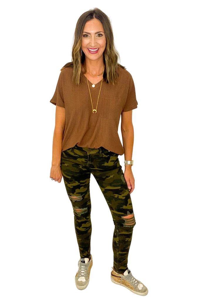 Mid Rise Distressed Camo Skinny Jeans