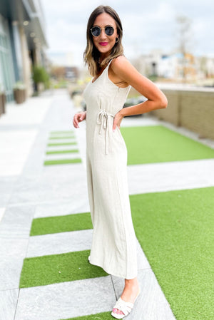 oatmeal linen cross strap jumpsuit, trend forward pieces, outfit inspiration, shop style your senses by mallory fitzsimmons