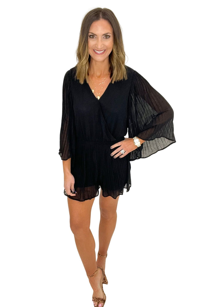 black pleated crossover romper, date night, spring style, shop style your senses by mallory fitzsimmons