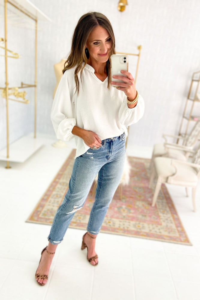Ivory V Neck Long Puff Sleeve Top