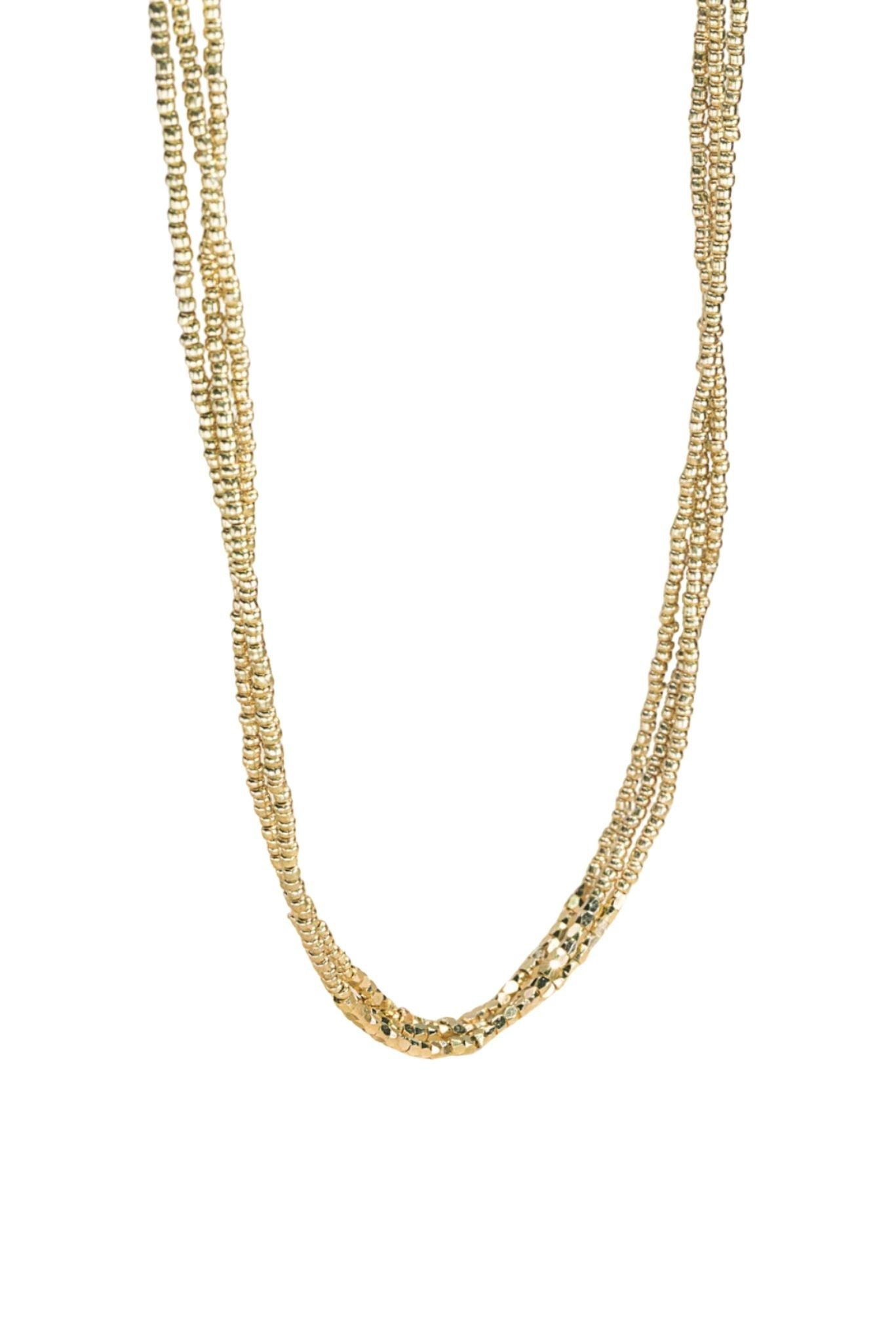 Shiny Gold Bead Layered Necklace