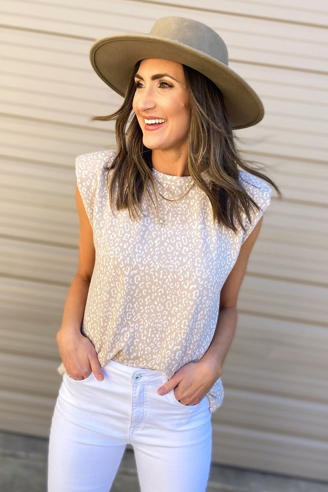 Taupe Animal Print Shoulder Pad Top
