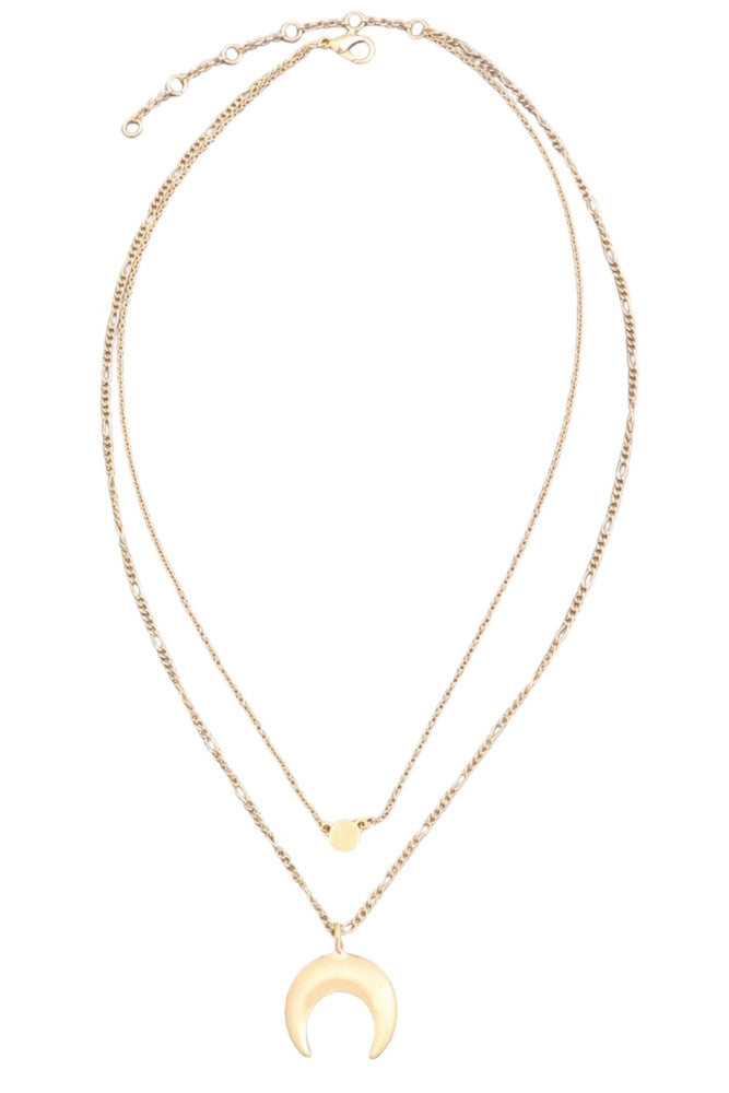 Gold Layered Necklace w/ Crescent Charm