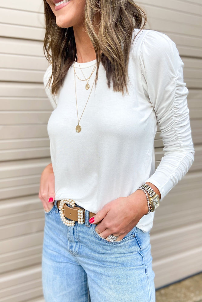 white-rouched-long-sleeve-top-elevated-basic-spring-outfits-new-arrivals-mom-style-shop-style-your-senses-by-mallory-fitzsimmons