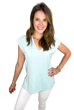 mint v neck cap sleeve top w/ front seam, white skinny jeans, spring tops, shop style your senses by Mallory Fitzsimmons  Edit alt text