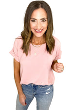 pink short cuffed sleeve top, medium wash denim, spring tops, shop style your senses by Mallory Fitzsimmons