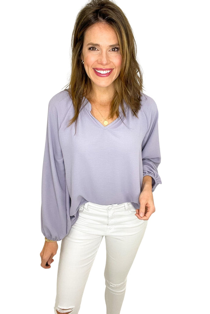 lavender v neck long puff sleeve top, work to weekend, white skinny jeans, shop style your senses by mallory fitzsimmons
