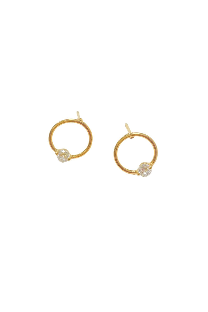 gold circle stud earrings w/  rhinestone, shop style your senses by Mallory Fitzsimmons