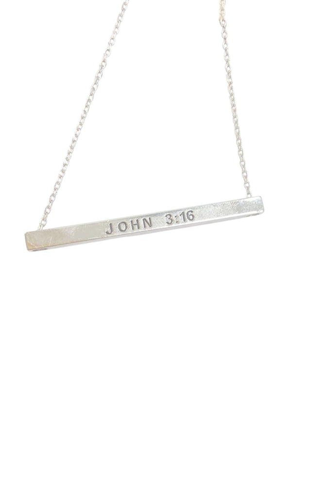 silver John 3:16 Bar Necklace, trendy jewlery, affordable accessories, shop style your senses by Mallory Fitzsimmons
