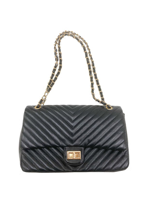 black diagonal quilted bag w/ chain, affordable accessories, trendy handbags, shop style your senses by Mallory Fitzsimmons