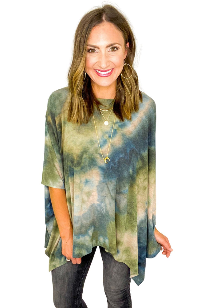 Load image into Gallery viewer, Olive Tie Dye Poncho