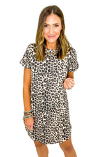 Animal Print Waffle Knit Short Sleeve Dress