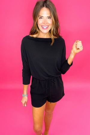 black off the shoulder knit romper, comfy style, affordable fashion, upstyled basics, shop style your senses by mallory fitzsimmons