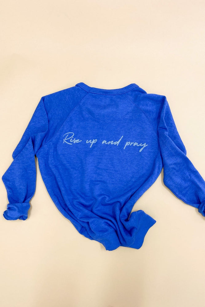 Luke 22:46 Scripture Sweatshirt Royal, Women's Christian Clothing, Shop Style Your Senses by Mallory Fitzsimmons