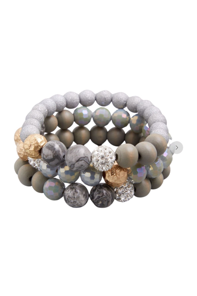 Load image into Gallery viewer, Grey Mixed Material Bracelet Set