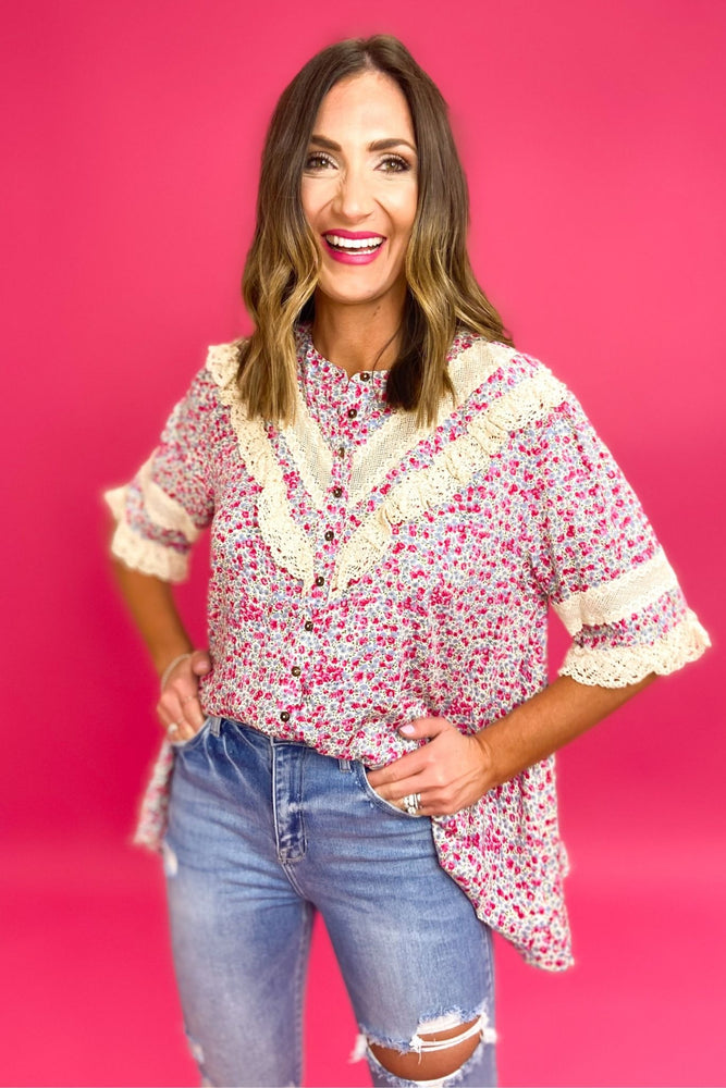 Load image into Gallery viewer, pink and blue floral print top with lace detail, distressed denim, boho chic, trendy outfits, shop style your senses by mallory fitzsimmons
