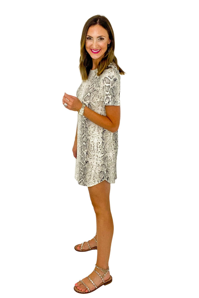 Scale Print Micro Waffle Short Sleeve Dress