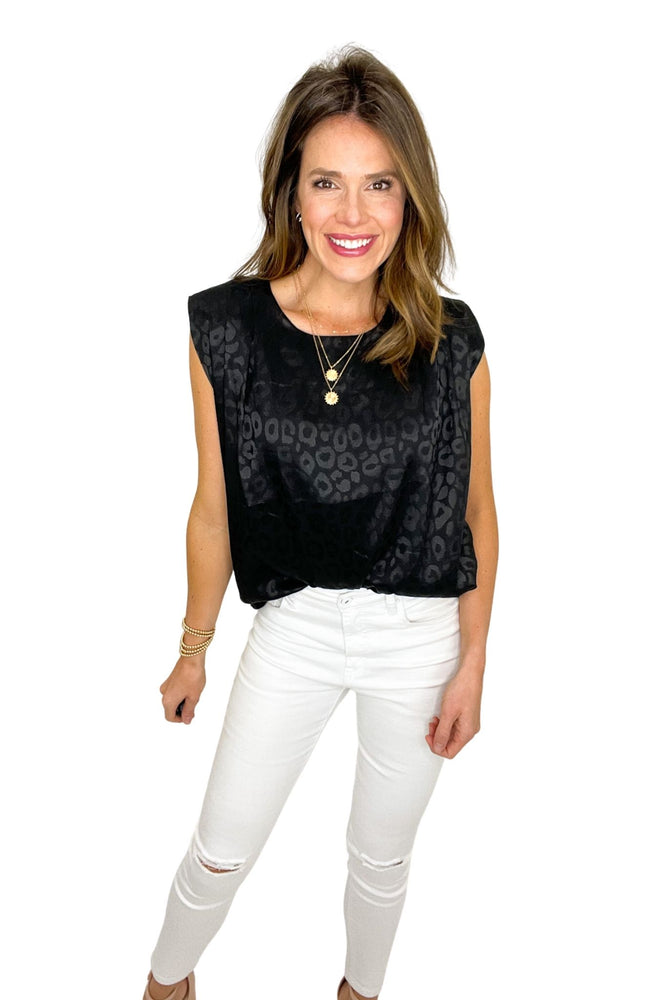 black tonal animal print shoulder pad top, white skinny jeans, work to weekend, spring tops, shop style your senses by mallory fitzsimmons