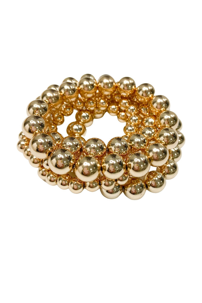 Gold Multi Size Bubble Bracelet Set