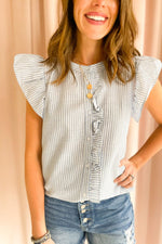 Denim Stripe Flutter Sleeve Button Down Top