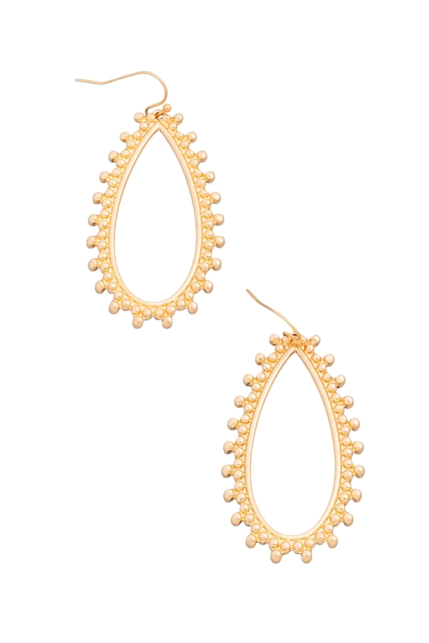 Gold Oval Drop Earring w/ Ball Accents
