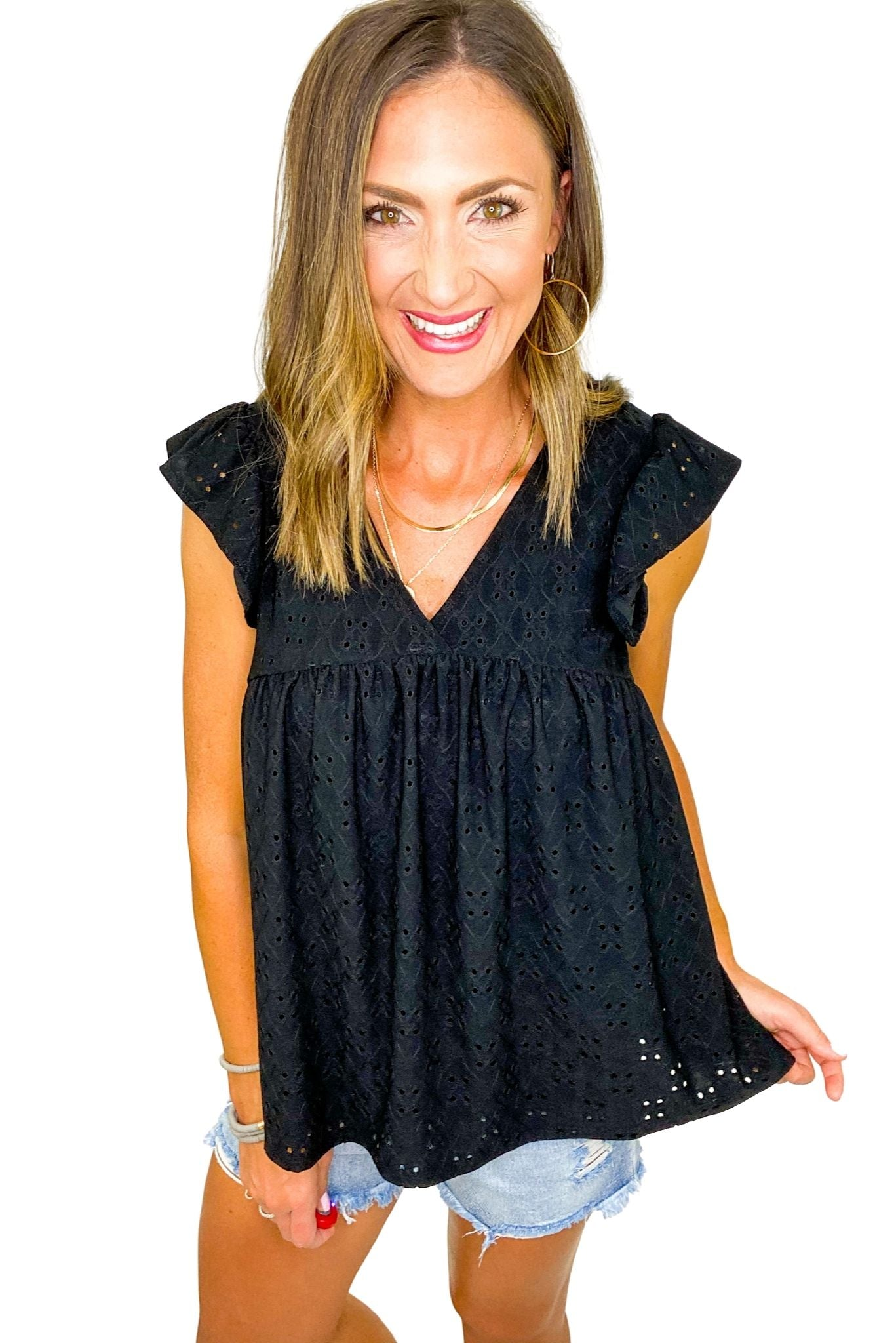 Black Eyelet Babydoll Top