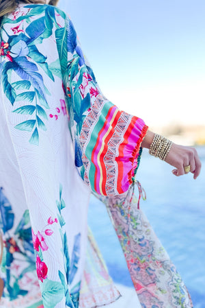 pink and teal mixed print balloon sleeve long kimono, spring break collection, fun in the sun, beach attire, shop style your senses by mallory fitzsimmons