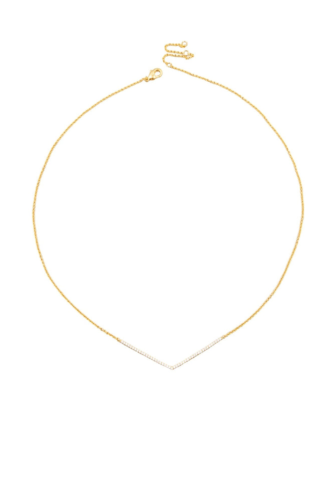 Gold Delicate Necklace w/ Pave V