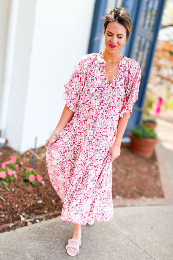 pink floral flowy maxi dress, abloom collection, spring dresses, bright colors, trendy outfits, shop style your senses by mallory fitzsimmons