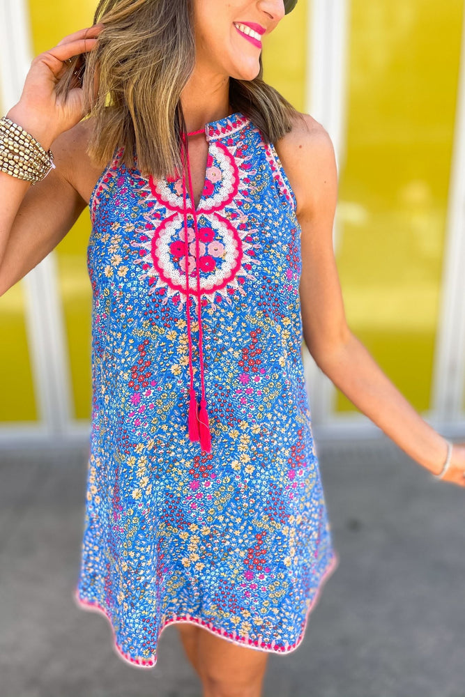 blue mini floral halter dress with embroidery, spring break collection, fun in the sun, beach attire, shop style your senses by mallory fitzsimmons