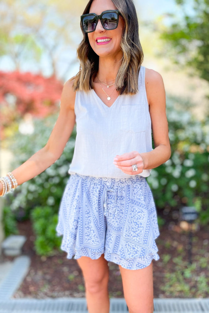 light blue printed layered shorts, abloom collection, white button back tank, spring outfit inspiration, fresh fashion, shop style your senses by mallory fitzsimmons