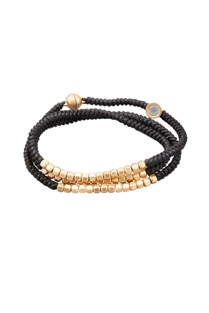 Load image into Gallery viewer, Black Wrap Bracelet w/ Gold Beads