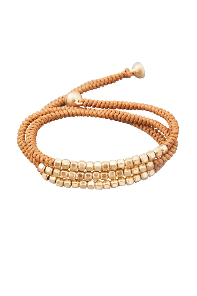 Load image into Gallery viewer, Brown Wrap Bracelet w/ Gold Beads
