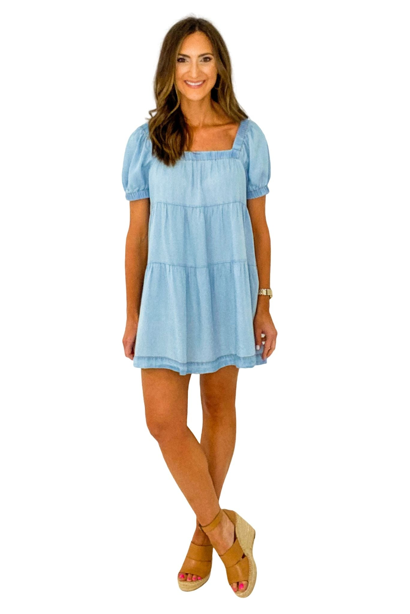 Short Sleeve Tiered Chambray Dress *FINAL SALE*