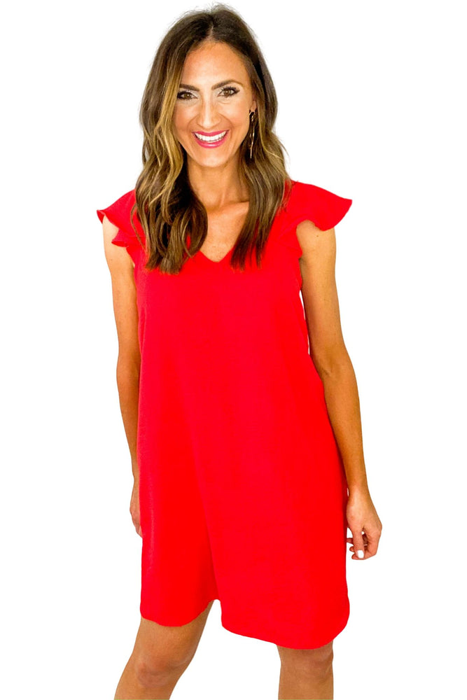 Red Flutter Sleeve Shift Dress