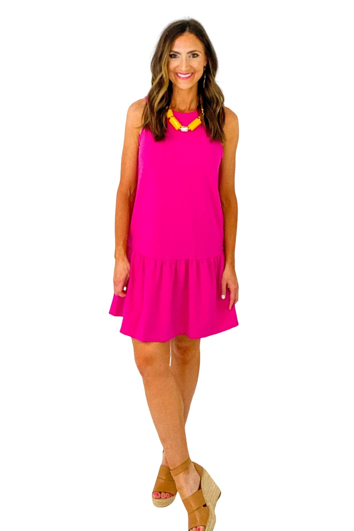 Fuchsia Cross Back Sleeveless Dress