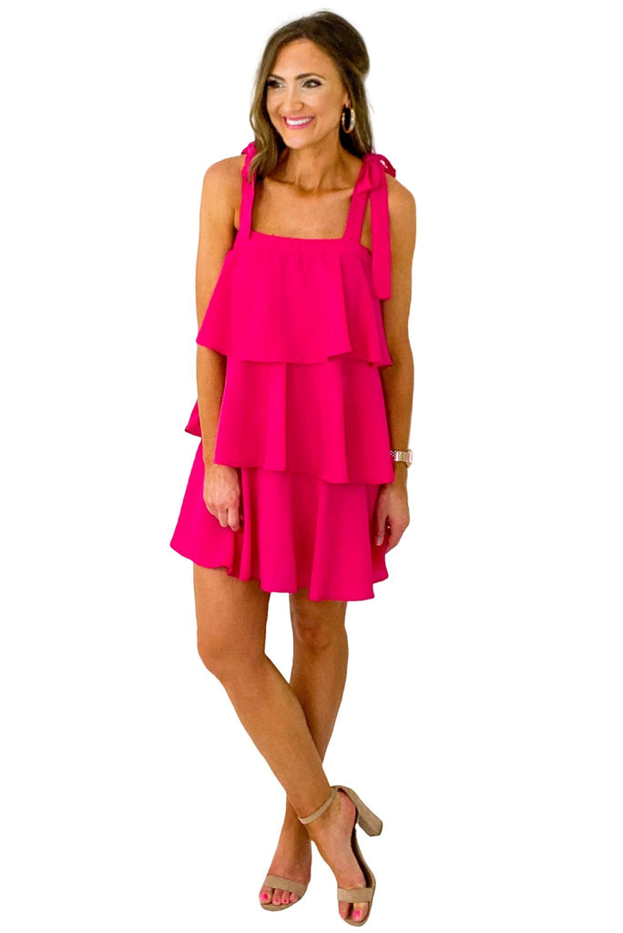 Fuchsia Tiered Tie Shoulder Dress
